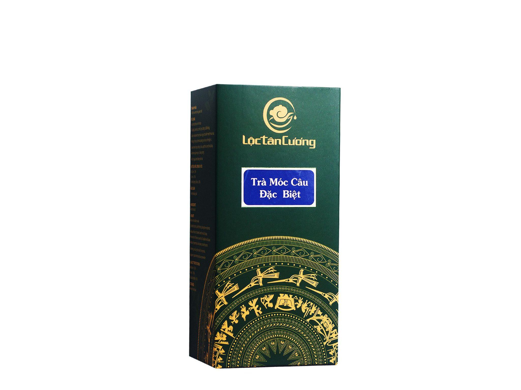 Trà móc câu thái nguyên 250gr được đóng gói trong túi thiếc PE hút chân không và được cho vào hộp giấy xanh sang trọng