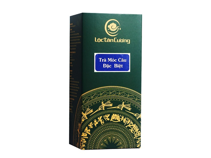 Trà móc câu thái nguyên 500gr được đóng gói trong túi thiếc PE hút chân không và được cho vào hộp giấy xanh sang trọng