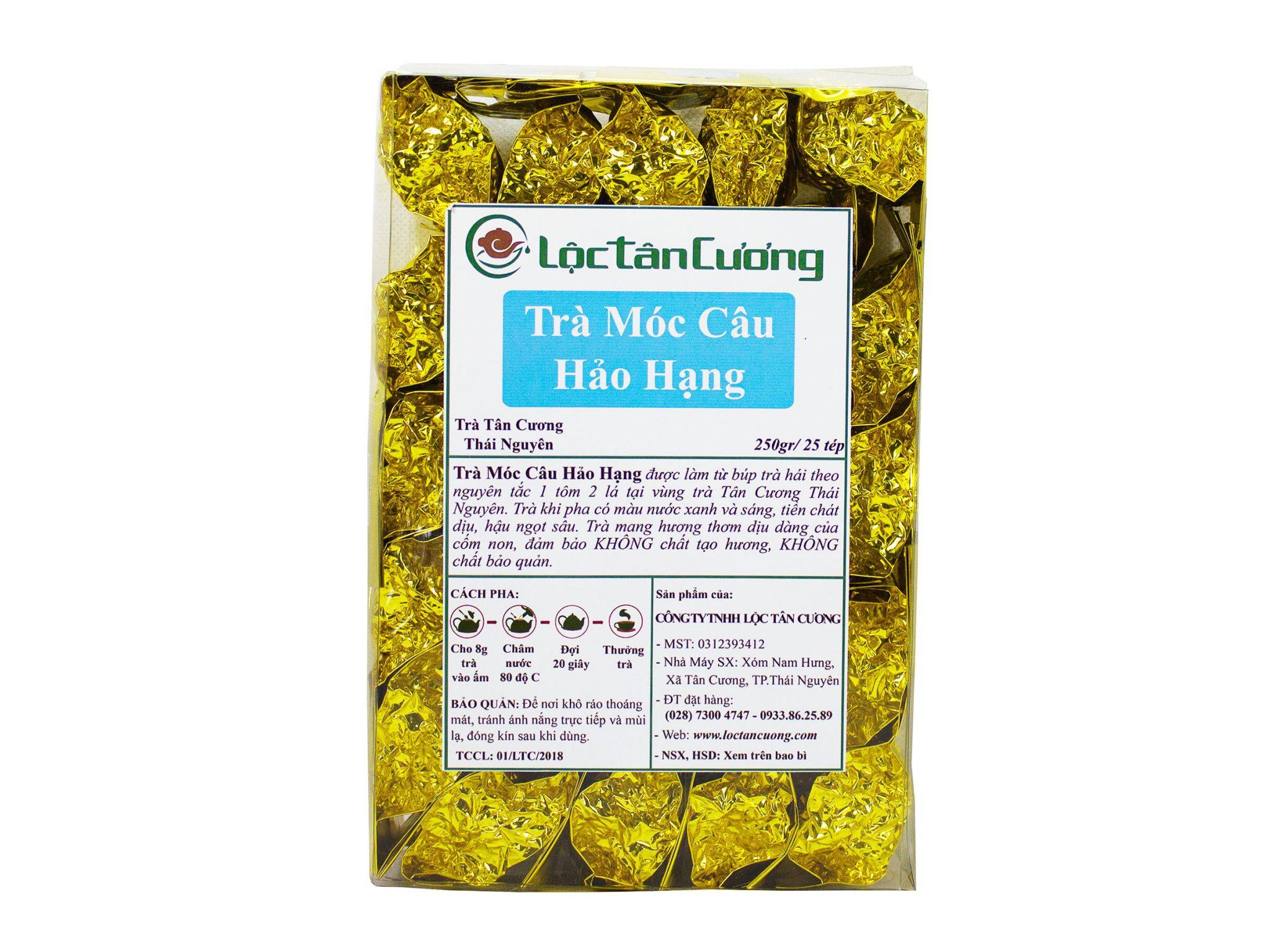 Trà móc câu hảo hạng 25 tép nhỏ, mỗi tép nhỏ có trọng lượng 10gr được đóng gói trong túi thiếc PE và hút chân không giúp cánh trà không bị gãy nát và bay hương