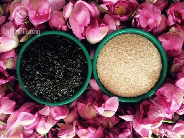 Trà ướp hương sen bằng gạo sen sẽ có hương thơm khó phai