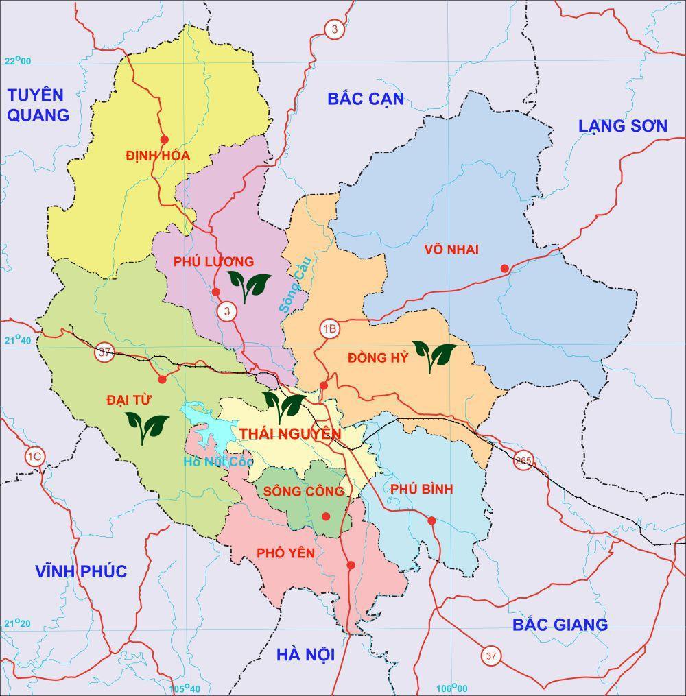 Bản đồ các vùng trà lớn ở Thái Nguyên