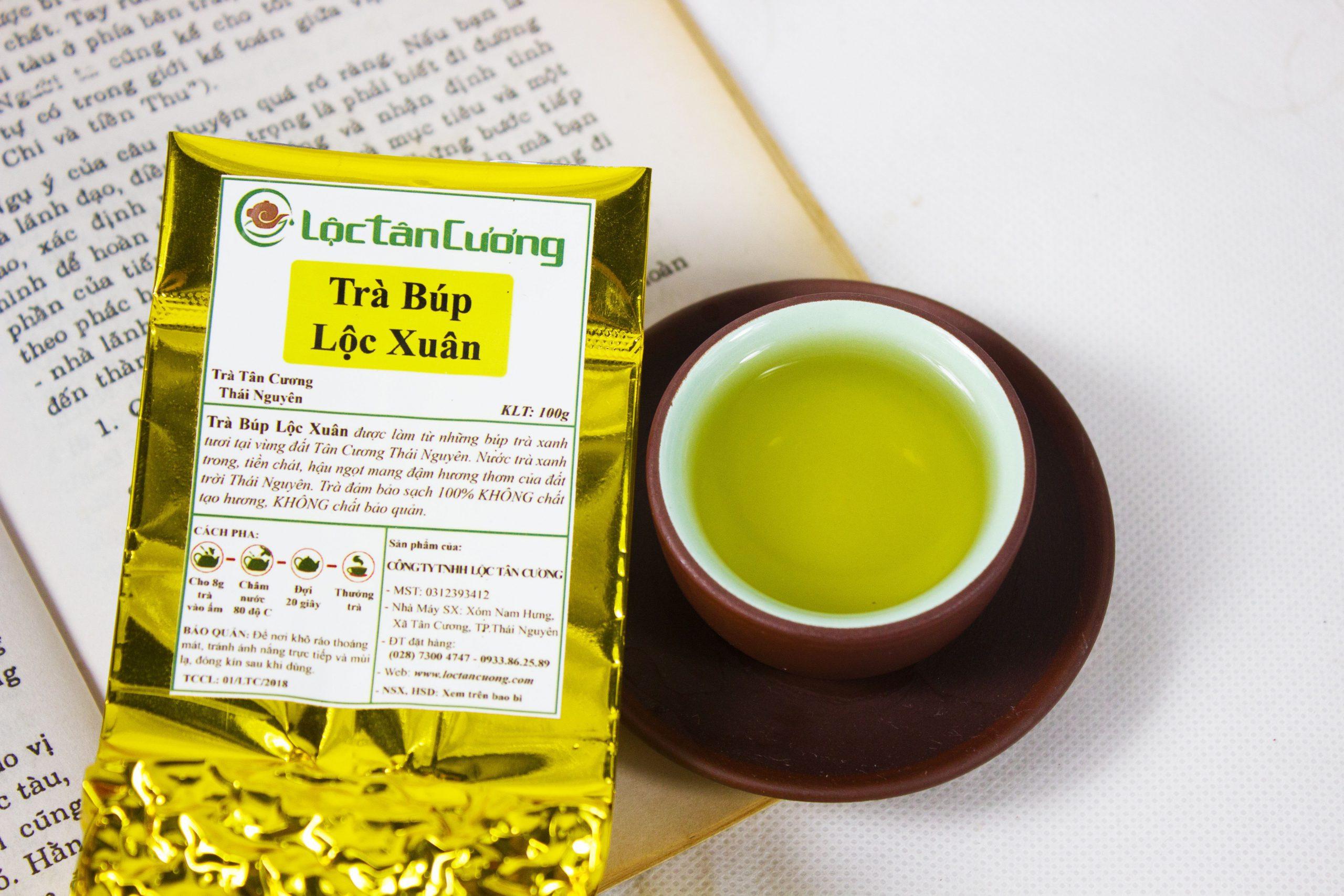 Bao bì sản phẩm trà búp Thái Nguyên Lộc Tân Cương có nhãn mác, thông tin sản phẩm và cty rõ ràng