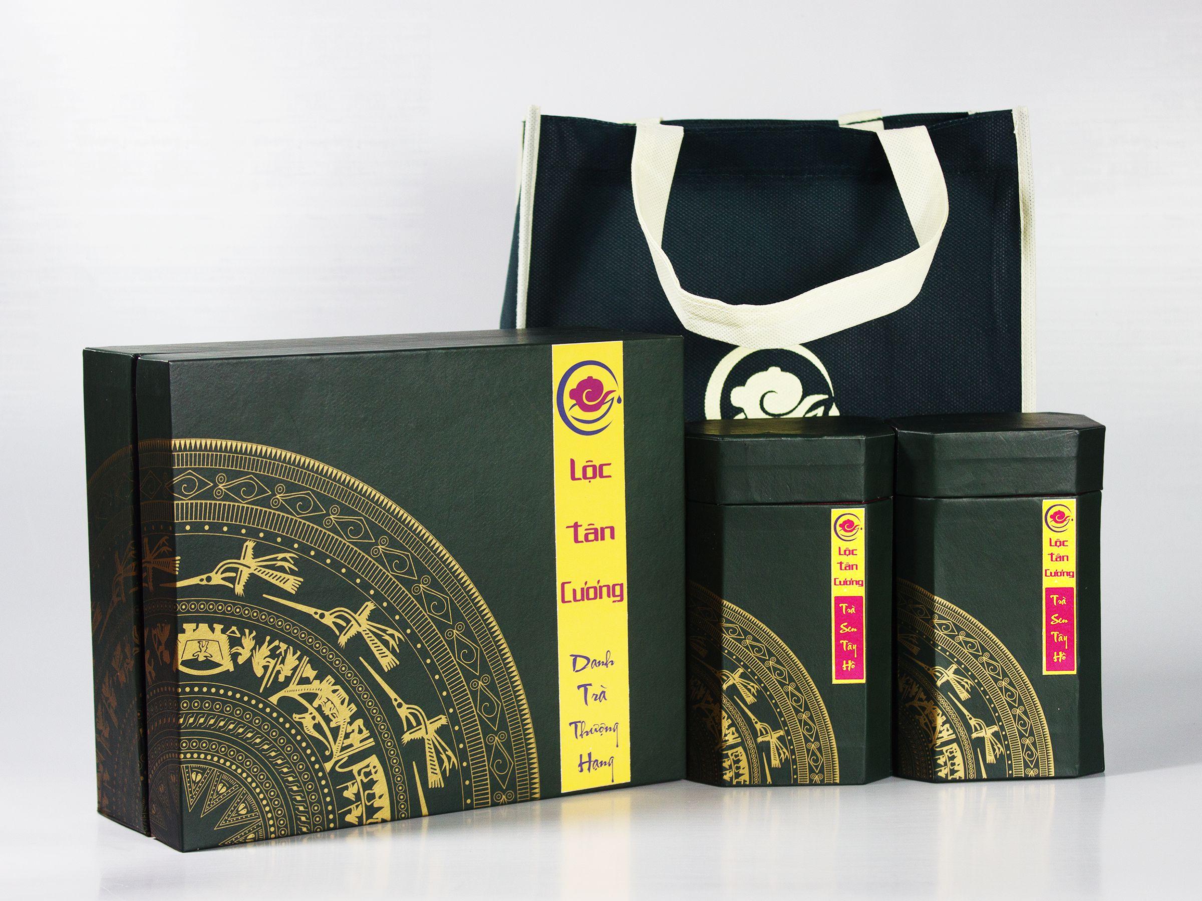Bộ hộp quà tặng Trà Sen Tây Hồ cao cấp, sang trọng, tinh tế