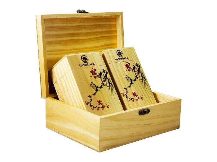 Hộp trà bằng gỗ thông nhập khẩu, sáng và mịn, hộp trà sang trọng đẳng cấp