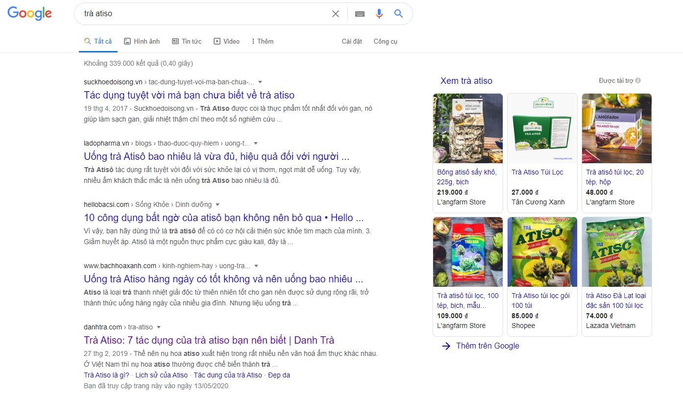 bạn có thể dễ dàng tìm thấy trà atiso gói trên internet
