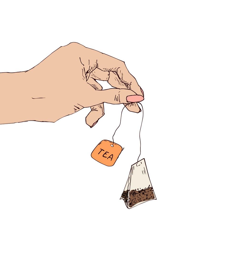 phần dây và nhãn của túi trà